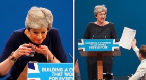 Comedian Simon hands over Theresa May P45 in her middle of speech and says Boris gave to you
